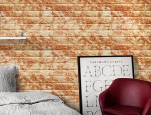 Xốp đá dán tường 3D màu nâu vàng